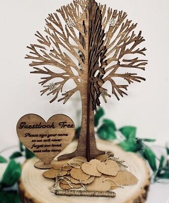 Personalised Guest Book Wishing Wedding Tree Guest Messages Love 30 Card Hearts