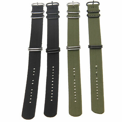 20/22mm Unisex Army Style Military Nylon Wrist Watch Band Strap Stainless Buckle