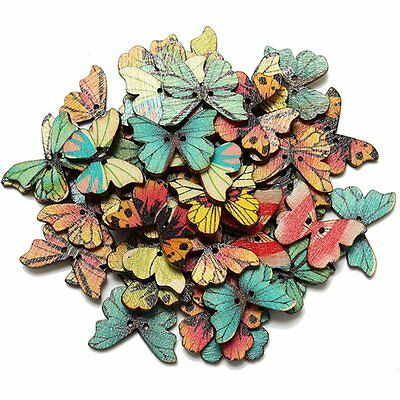50pcs 2 Holes Mixed Butterfly Wooden Button Sewing Scrapbooking DIY Craft FK