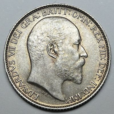 1907 Sixpence - Edward Vii British Silver Coin - Superb