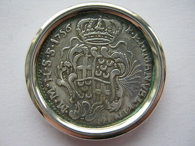 Malta 1756 silver 15 Tari, mounted as container lid.