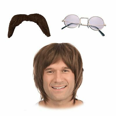 ADULT MENS 60s HIPPY HIPPIE ACCESSORIES WIG GLASSES MOUSTACHE TASH JOHN LENNON