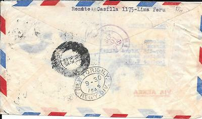 Peru 1945 Registered Airmail Cover to England with New York Miami Transit Cancel