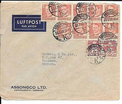 Denmark 1950 Commercial Airmail Cover to Ceylon