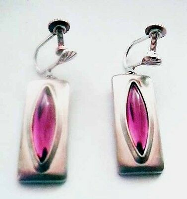 Jorgen Jensen Denmark PURPLE Cats Eye Earrings~NEW OLD STOCK~1970 Modernist #230