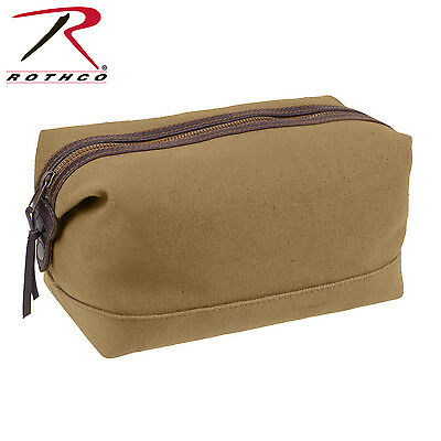 Travel Shave Kit Bag Canvas w/ Leather Trim Coyote Brown Brass Zipper Shave Kit