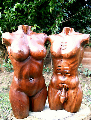 Carved Wooden Abstract Statue Body Woman or Man 30 cm Brown Colour Indonesia