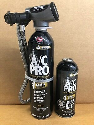 A/C PRO Synthetic Refridgerant ACP-100 Leak Sealer WITH GAUGE and Refill Can