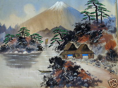 Antique Signed Asian Oriental Japanese Mt. Fuji Japan Landscape Painting On Silk