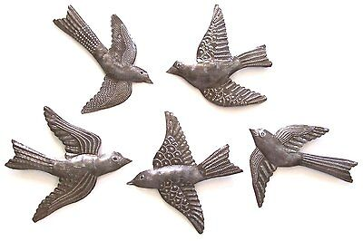 Set of 5 Small Birds Flying Haitian Recycled Metal Drum Wall Art Crafts, 18x15cm