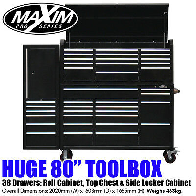 """MAXIM 80"""" Toolbox 38 Drawer Combo Top Chest Roll Cabinet Locker 60"""" Storage"""