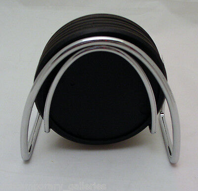 Contemporary Modern Black & Chrome Set of 6 Stackable Coasters with Holder Stand