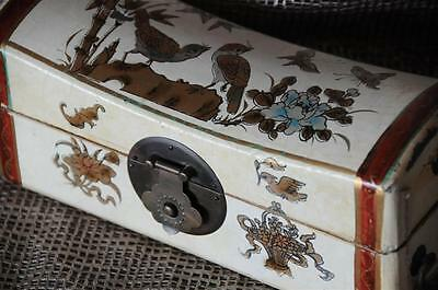 Old Chinese Leather Covered Hand Painted Box…  with Brass Fittings...