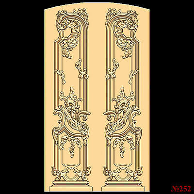 (252) STL Model Door for CNC Router 3D Printer  Artcam Aspire Bas Relief