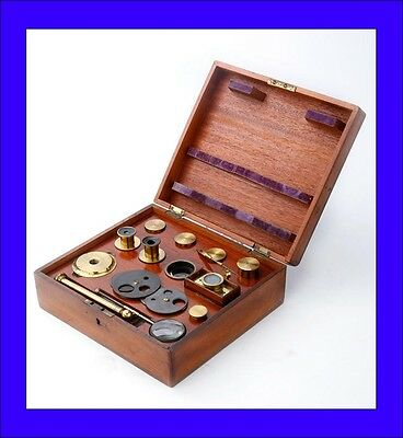 Complete Set of Accessories and lenses for Compound Microscope. Circa 1880