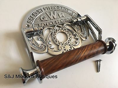 Victorian Toilet Roll Holder Novelty Chrome Unusual GWR Vintage Design Silver