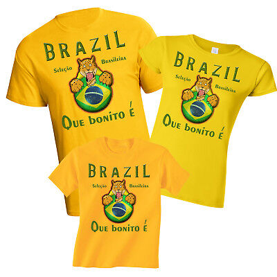 Brazil World Cup 2018 Football Mascot T-Shirt Choice Of MENS LADIES KIDS