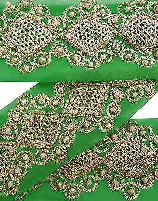Weinlese -Sari Border 1YD Antike Gebraucht Hand wulstige Indian Trim-Grün-Band-S