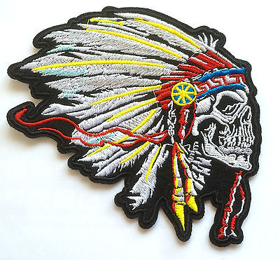 Indianer Totenkopf Aufnäher / Aufbügler Indian chief head skull patch biker vest