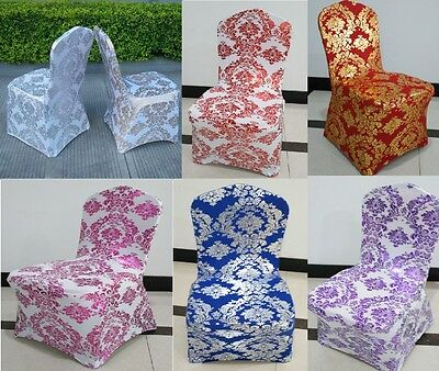 Spandex Lycra Chair Cover Golden/Silver Floral Print - Wedding Party Prom Events