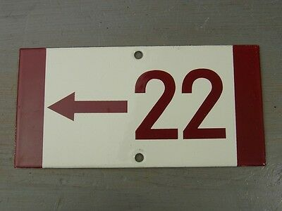 V19 * Rare Porcelain Enameled House Number Sign 22 * Antique German 1930's
