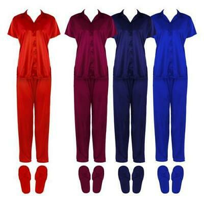 Ladies Satin Pyjama Set Short Sleeve Girls Pj's Nightsuit On Clearance