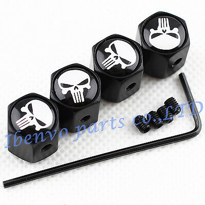 Anti-theft Black Metal Car Wheel Tyre Tire Stem Air Valve Cap For Punisher Dusts