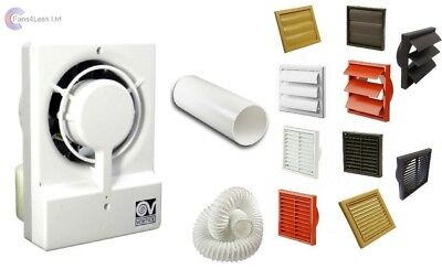"Vortice Record Extractor Bathroom Wall Fan M10/4T 4"" 100mm Timer Complete Kit"