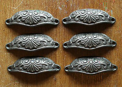 6 x 80mm VICTORIAN ANTIQUE STYLE OLD CAST IRON CUP PULL DRAWER HANDLES ~ DP15x6