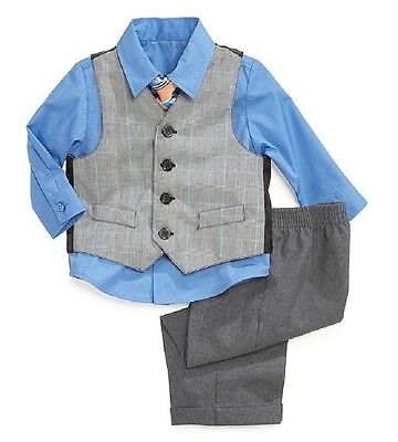 Nautica Four Piece Gray Vested Suit Set with Dressy Blue Longsleeve Shirt