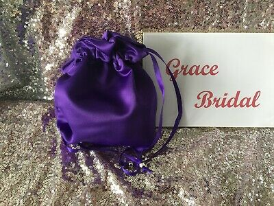 CADBURY PURPLE SATIN DOLLY BAG BRIDESMAID PROM FLOWER GIRL BNIP **free samples**