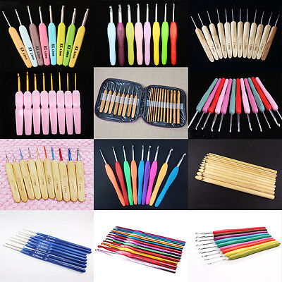 Multicolor Soft Plastic Handle Bamboo Aluminum Crochet Hooks Knitting Needles