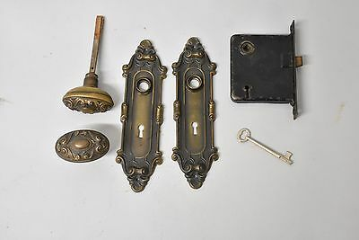 Antique Brass Victorian Door Lock Set by Yale & Towne 5 available