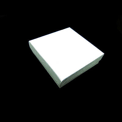 "25 White Swirl Cotton Filled Jewelry Gift Boxes 3 1/2"" X 3 1/2"" X 1"""
