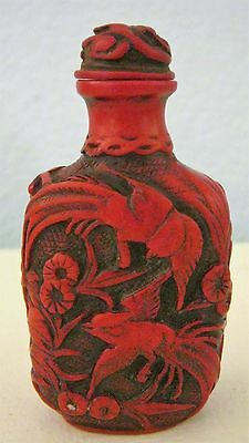 Red Resin? Hand Carved Snuff Bottle - Exotic Birds