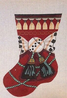 Hand Painted Needlepoint Canvas Christmas Stocking Bow Tassles on Stretcher Bars