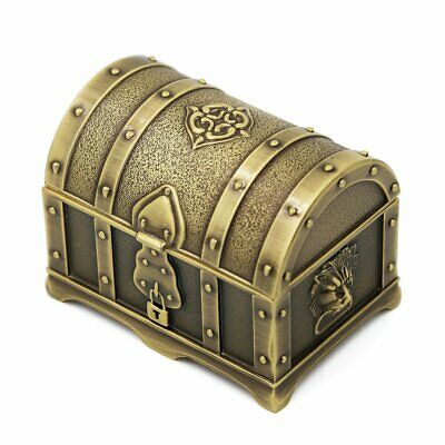 Small Treasure Chest Jewelry Trinket Box Storage Container Case Vintage Design