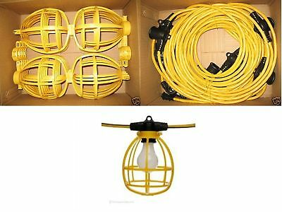 100 ft. Temporary Lighting String Work Light Industrial Heavy Duty w/ Bulb Cages