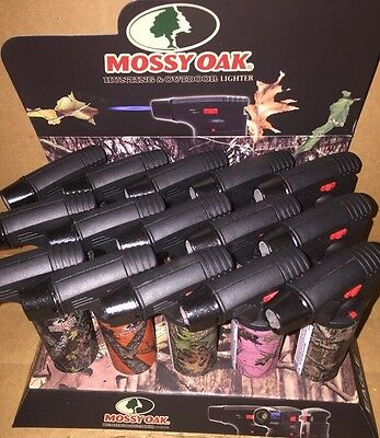 12 Pack 1 Box Mossy Oak Torch Gun Lighter Adjustable Flame Windproof Refillable
