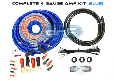 Blue 4 Gauge Amp Kit Amplifier Wiring Install Complete Kit 2800W- SHIPS TODAY!