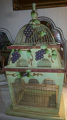 Wood And Wire Birdcage Carved Grapes Vines & Leaves