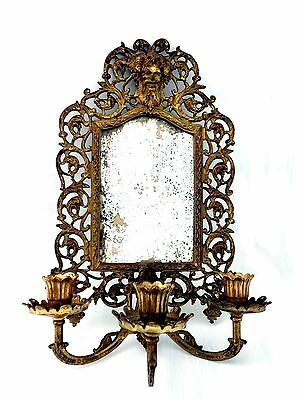 Vintage (Bradley and Hubbard) Brass Wall Sconce Mirror with 3 Candle Holders • CAD $288.24