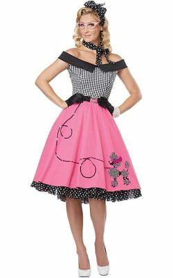 Nifty 1950S Rock N Roll Adult Womens Rockabilly Poodle Skirt Fancy Dress Costume