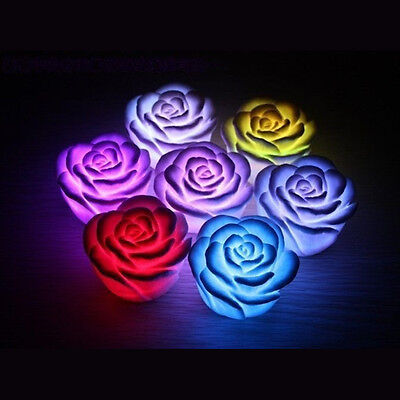 New 7Color Romantic Changing LED Floating Rose Flower Candle Night Light  BF