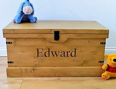 Large Handmade Wooden Children's Toy Box Carved Personalised Storage Chest/Trunk