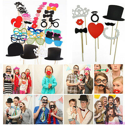 Funny Photo Booth Props Moustache DIY Hat Lip Glasses Weddings Birthdays Parties