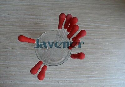 10Pcs Durable Long Glass Pipette Dropper Lab Supplies With Red Rubber Cap