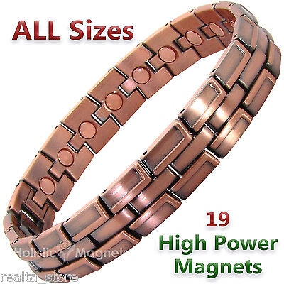 Mens Copper Clad Magnetic Bracelet - Arthritis Therapy Joints Muscle Pain Relief