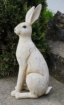LARGE Rustic White Hare / Rabbit Ornament Figure NEW