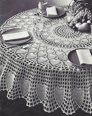 """Vintage Crochet Pattern to make Pineapple Petals Design Round Tablecloth 72"""" PP"""